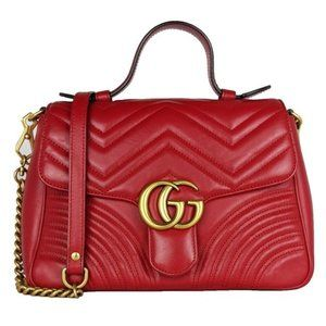 Gucci Gg Top Bag Marmont Handle Red Leather Satchel